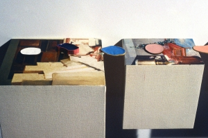 "<span class=""artworktitle"">Something About Security </span><span class=""artworkcaption"">(detail)<br/>oil on canvas, wood, rubber bands filled with boat paint<br/>overall dimensions 10 h x 96 w x 15 d in.<br/>1998</span>"