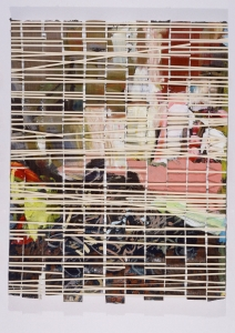 "<span class=""artworktitle"">Snap</span><span class=""artworkcaption""><br/>oil strips scraped off of glass woven through rubber bands around a stretched canvas<br/>18 h x 14 w in.<br/>1996</span>"