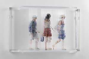 "Stasis 49 (Rupert Murdoch, Deng and Companion), acrylic paint dripped on plastic rods, plastic support, 12.5h x 20.5l x 6.75w"" 2012"