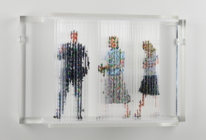 "Stasis 52 (Luc Tuymans and the Queen of Belgium), acrylic paint dripped on plastic rods, plastic support, 12.5h x 20.5l x 6.75w"" 2012"