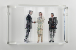 "Stasis 53 (Angelina Joli at the UN), acrylic paint dripped on plastic rods, plastic support, 12.5h x 20.5l x 6.75w"" 2012"