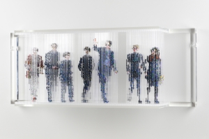 "Stasis 56 (The Redgraves), acrylic paint dripped on plastic rods, plastic support, 12.5h x 32l x 8w"" 2012"