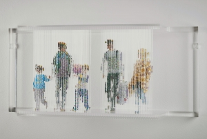 "Stasis 108 (Refugees), acrylic paint dripped on plastic rods, plastic support, 12.5h x 28l x 8w"" 2015"