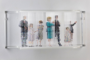 "<span class=""artworktitle"">Stasis 72 (Patricians)</span><span class=""artworkcaption""><br/>acrylic paint dripped on acrylic plastic rods, acrylic plastic support<br/>12 1/2 h x 32 w x 8 d in. <br/>2016</span>"
