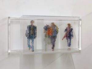 "<span class=""artworktitle"">Stasis 111 (European hostages)</span><span class=""artworkcaption""><br/>acrylic paint dripped on  acrylic plastic rods, acrylic plastic support<br/>12 1/2 h x 28 w x 8 d in.<br/>2016</span>"