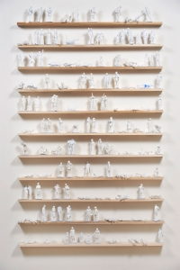 "130 foamcore maquettes (each averaging 6""h carved between 2007-2017) displayed in Detritus, ICA San Jose CA, June 22- September 10 2017"