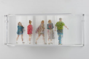 "<span class=""artworktitle"">Stasis 129 (Shooting)</span><span class=""artworkcaption""><br/>acrylic paint dripped on acrylic plastic rods, acrylic plastic support<br/>12 1/2 h x 32 w x 8 d in.<br/> 2018</span>"