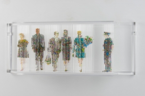 "<span class=""artworktitle"">Stasis 130 (Oligarch's Funeral)</span><span class=""artworkcaption""><br/>acrylic paint dripped on acrylic plastic rods, acrylic plastic support<br/>12 1/2 h x 32 w x 8 d in.<br/> 2018</span>"